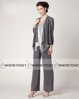 Cheap Long Sleeve Mother Of Bride Pants Suits Best Three Pieces Mother of the Bride Suits