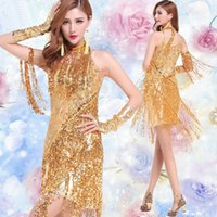 Wholesale Gold sequin dress costume fringe latin dance dress salsa dance dresses vestidos de baile latino salsa clothes for salsa latin dance