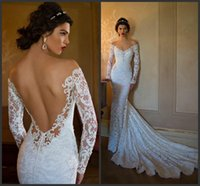 Cheap Berta Wedding Dresses Mermaid 2015 Cheap Lace Long Sleeve Sheer Bridal Dress Sexy Vintage Off the Shoulder Spring Backless Ball Gowns Beach