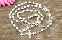 religious jewelry - Fashion Religious Rosary Jewelry Metal Cross Pendant mm White Plastic Rosary Necklace Hot Sale