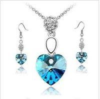 aqua gemstones - Top Grade Silver Jewelry Sets Fashion Bridal Wedding Crystal Rhinestones Gemstone Earrings Necklaces Set AZ