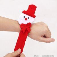 Wholesale 2015 Hot Christmas gift Xmas Santa Claus Snowman toy slap pat circle Bracelet Wristhand christmas tree decoration ornament H442