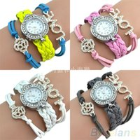 Wholesale Handmade Vintage Crystal Rhinestone Bracelet Watch Leather