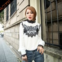 Wholesale MOFFI Spring new European brand fashion Slim lace embroidered chiffon long sleeved shirt