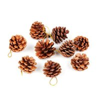 christmas ribbon - 9Pcs Wood Pinecone Christmas Tree Decoration Ornament Party with Gold Ribbon