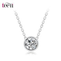 Wholesale Teemi New Simply Small Round Prong Hearts and Arrows Cubic Zirconia Classic Solitaire Pendant Office Lady OL Style Necklace