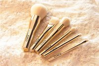 beauty foundation pieces - KIKO Haute Punk Gold Pieces Face Brush Kit Set Powder Blush Foundation Eyeshadow Brush Quality Beauty Makeup Brushes Blender DHL Free