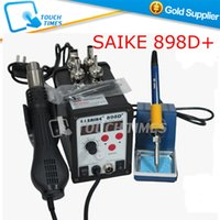 Cheap Wholesale-Free Shipping 220V SAIKE 898D+ 2 in 1 Hot Air Desoldering Station with Hot Air Gun &Solder Iron