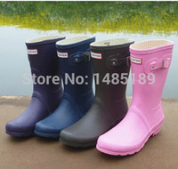 Cheap Free Shipping 2014 Women Fashion Short Rain Boots Waterproof Women Flat Heels Rainboots Ankle Water