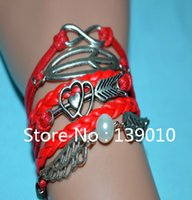 bangles group - 2015 European American Pop Leather Group Infinity Fish Angel Wing Pearl Heart Arrow Charm Bracelets Bangles For Women Jewelry