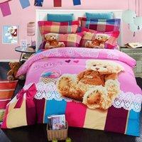 bear bedspreads - Teddy bear bedding set bed sheet quilt duvet cover King Queen size double Cartoon kids bedspread bedroom linen bedsheet cotton western
