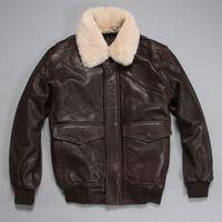 aviator flight suit - Fall Factory Pilot Aviator Flight Jacket For Men Genuine Leather Men s Winter Coats Sheepskin Fur Collar Brown Motorcycle Suits ZH176