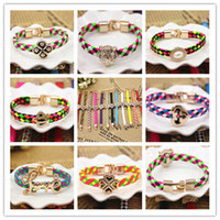 bracelets wholesale cheap bangles - Mix Bangle Bracelets New Summer Candy Color PU Leather Flower Love Pearl Element Charm Bracelets For Girl Cheap Jewelry Hot Sale