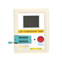 Wholesale Transistor Tester White LCD Backlight Diode Triode Capacitance ESR Meter MOS Triac Case Li ion Battery order lt no track
