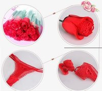 Wholesale 100 Novelty Sexy Female Panty Romantic Red Rose Flower Rose Language G string Underwear Birthday Mystery Valentine s Day Xmas Gifts
