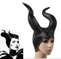 Wholesale 2016 trendy Genuine latex maleficent horns adult women halloween party costume jolie cosplay headpiece hat