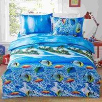 Wholesale Home Textiles Luxury D Printed Bedding Set Bedclothes Underwater World Queen Size Duvet Cover Bed Sheet Pillowcases set order lt no