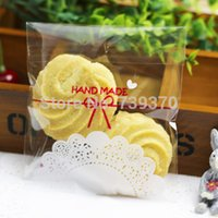Wholesale 100pcs cm Handmade Lace Bakery Cookie Gift Favor Cello Soap Treat Self Adhesive OPP Plastic Bag Wedding Party Birthday