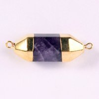 angle prism - Gold Plated Natural Gem Stone Six Angle double connector Hexagon Prism Reiki Pendulum Pendant Charms Chakra Amulet Jewelry