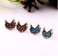 Wholesale new fashion jewelry accessories punk vintage lovely owl eye crystal small animal women stud earring