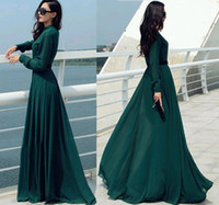 tunic shirt - Vestido Longo Vintage Elegant Casual Lady Long Button Party Cocktail Maxi Shirt Dress Kaftan Abaya Green Dress Tunics OXL092401