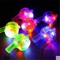 bar jokes - 50pcs LED whistle flashing colorful whistle light up toys joke evening party bar supplies glow concert noisse maker props