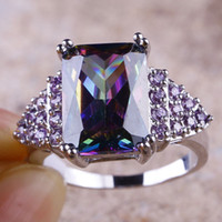 emeralds - Rainbow Emerald Round Cut Amethyst Gems K White Gold Plated Ring Size Free Ship