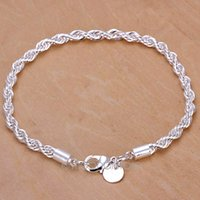 Wholesale 2015 Hot Bangle Bracelet Charm Sterling Silver Women Twisted Rope Hand Chain Wristband Stylish Girls Ladies Fashion Jewelry MHM341