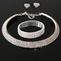 Wholesale wedding jewelry sets earrings bracelets necklace styles crystal bridal jewelry sets accessory for wedding party