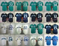 Baseball austin jackson - Seattle Mariners Jersey Robinson Cano Nelson Cruz Ken Griffey Jr Felix Hernandez Austin Jackson White Blue Green Cream