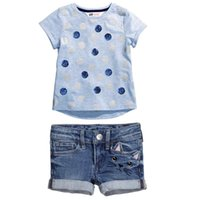 wicker furniture - Wicker Furniture Iron Side Table Summer Children Set Printing Dot Blouse A Pair of Jeans Kids Clothing Children Outfits Sets