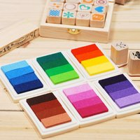Wholesale Child Craft Oil Gradient Color Based Diy Ink Pad Rubber Stamps Paper Scrapbooking Colors Inkpad Finger Paint
