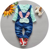 applique baby bibs - 2016 Spring new baby girls clothing sets suits Tee shirt Rabbit overalls bib pants piece sets toddler suspender trousers