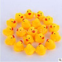 babies sound - 4000pcs CCA3306 High Quality Baby Bath Water Duck Toy Sounds Mini Yellow Rubber Ducks Kids Bath Small Duck Toy Children Swiming Beach Gifts