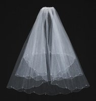 One-Layer beaded dress for sale - Hot sale White Beaded Wedding Veils Crystal Beads Elbow Length Bridal Veil For Wedding Dresses Accessories