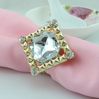 Wholesale Square Diamond Gold METAL Napkin Rings Hotel Wedding Supplies Table Decoration Accessories R257