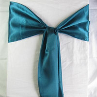 Wholesale 25 Teal Blue CM CM Satin Chair Sashes Wedding Party Banquet Events Chair Decoration Supplies SAT