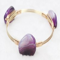 designer inspired jewelry - Rainbow Designer Inspired Agate Bracelet Simple Gold Wire Wrapped Bangle Good workmanship Hot sale Fashion Jewelry Bracelets For Women