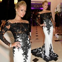 black and red evening dress - 2015 Hot White and Black Mermaid Evening Dresses Long Sleeves Custom Made Floor Length Lace Prom Evening Gowns Celebrity Dresses EA0042