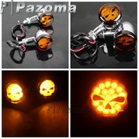 Wholesale Turn Signal Lights Ghost Face Motorcycle LED Blinker Light CNC Aluminum Indicator Lamp For Motorbike Shadow Chopper Pazoma
