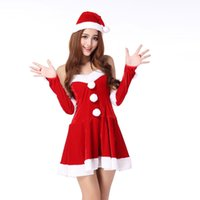 gothic clothes - Ladies Christmas Cosplay Dress Hat With Wristband Sleeveless Santa Claus Wear New Year Show Stage Performance Clothing HX102
