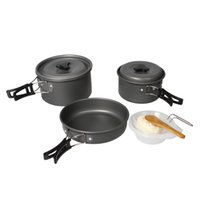 Cheap Portable Outdoor Camping Anodised Aluminum Cookware Cooking Set Cooker Pot Pan Bowl Picnic Equipment for 2-3 people