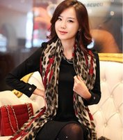 Wholesale New European Style Fashion Leopard Heart Cotton Yarn Scarf Mix Colors