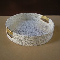 decorative fruit - 29 cm round leather serving storage decorative tray fruit food tray embossed gold over white C