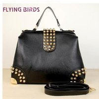 Wholesale FLYING BIRDS Hot New Design Women Fashion Rivet Motorcycle Handbags Retrpo Doctor Shoulder Bag PU Leather Women HC046