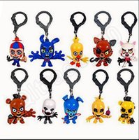 Wholesale 5SET Hot Five Nights At Freddy s Collector Clips Chica Keychain FNAF Blind Bag Pendant Toy Phone Straps SET JJA03