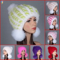Wholesale European style Knitted Hat Topshop fashion new arrival christmas luxurious gift real mink fur hair knitted for woman high quality A