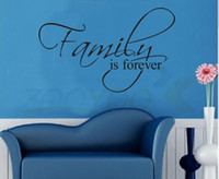 Wholesale Family Is Forever home decor creative quote wall decal ZooYoo8068 decorative adesivo de parede removable vinyl wall sticker