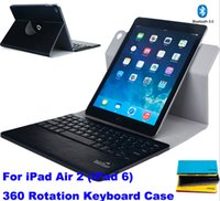 Wholesale 30pcs wireless bluetooth keyboard rotation case cover for ipad air ipad th blue color with retail box