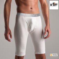 Boxers modal fabric - Long Tight Men s boxer Shorts Side Opening Modal Spandex Mid Pants with High Quality Waistband Pure Color Fabric K